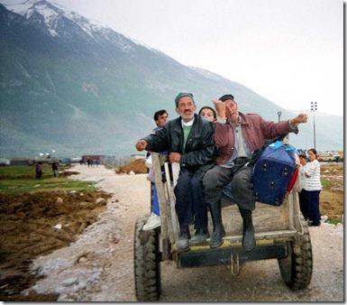 Kosvar Refugees Arriving in Kukes Albania