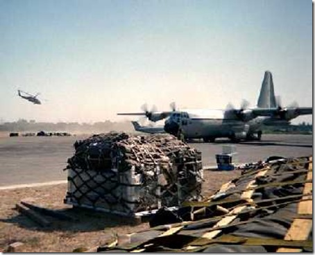 Relief Supplies Arriving in Dili East Timor. Canadian C-130 Hercules bring some of the first relief shipments to East Timor after the Indonesian Army ran amok following the Timor vote for independence.