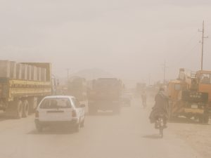 Dusty Jalalabad Road east -- typical driving conditions
