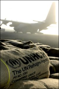 Emergency food supplies being delivered to refugee camps in northeastern Kenya by C-130 Hercules aircraft.